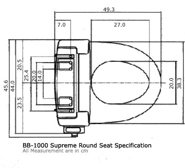 BB-1000 Supreme Round Seat Specification (all measurements are in cm.)