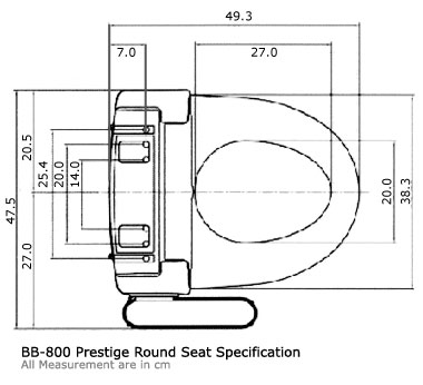 BB-800 Prestige Round Seat Specification (all measurements are in cm.)